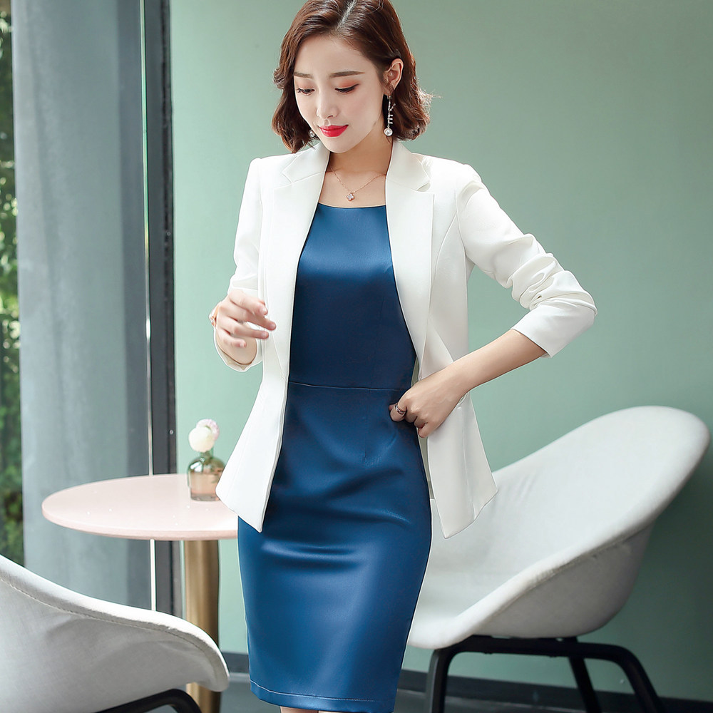 Plus Size Formal Dress Suits Women 2 Piece Office Ladies Business Work Wear Blazer Slim Pencil Dress Set Elegant Outfits 881905