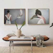 Cute Birds and Girl Home Decor Nordic Canvas Painting Wall Art Animal Figure Picture Poster Prints for Living Room