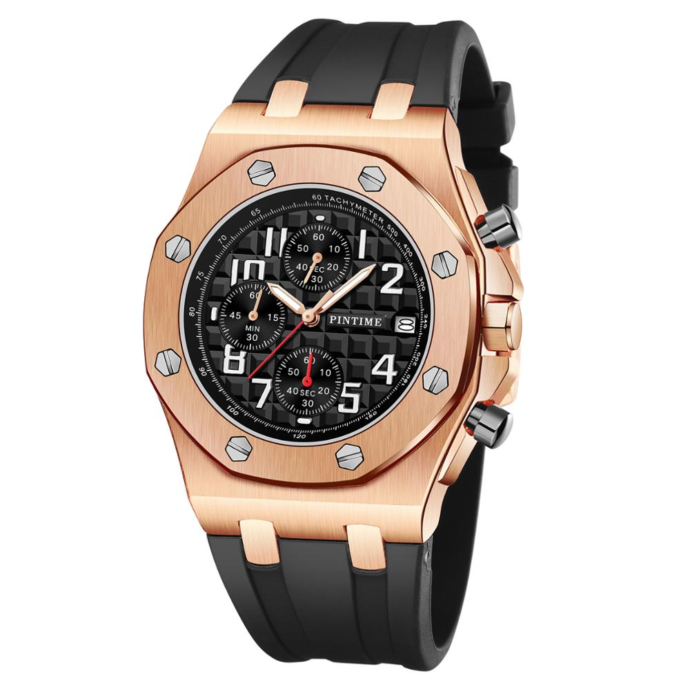 Mens Watches Top Brand Luxury Chronograph Sport Military Gold Watch Waterproof Rubber Male Wrist Watch Date Relogio Masculino