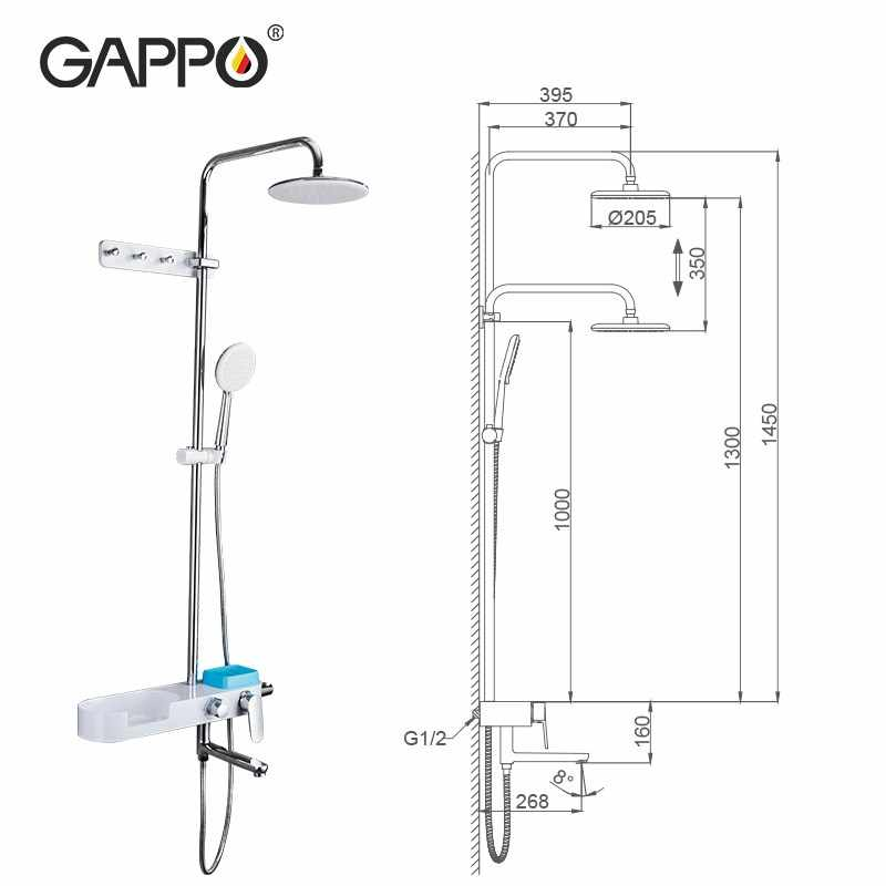 Gappo バスシャワーシステムミキサー回転浴槽スパウト壁マウント降雨シャワーヘッド handshower 降雨シャワーミキサー蛇口