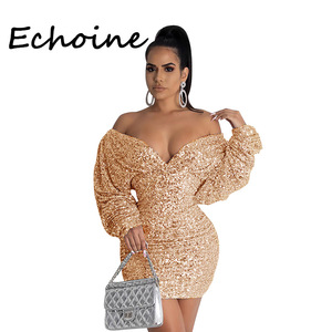 Sexy Sequin Dress V-neck Long Puff Sleeve Mini Dress Dresses Woman Party Night Vestidos Gold Silver Black Plus Size 2XL