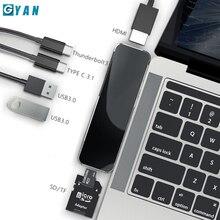 Adaptateur USB HUB C vers HDMI Multi USB 3.0, séparateur de surface pour MacBook Pro, Dock, Thunderbolt 3, adaptateur double USB Type C