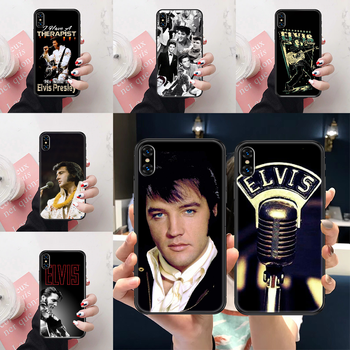 Singer Elvis Presley Phone Case Cover Hull For iphone 5 5s se 2 6 6s 7 8 12 mini plus X XS XR 11 PRO MAX black painting image