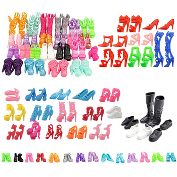 50 Pairs Shoes For Barbies High Heels Boots Crystal Shoes Sneakers For 11.8 Inch Barbies Girls Accessories,30 Cm Doll Toy Shoes image