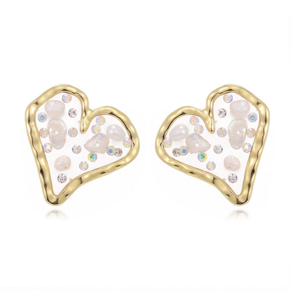Luxury Brand Female Golden Heart Statement Hanging Earrings Irregular Big Brinco Modern Jewelry Girls Lovely Pearl Earring(China)