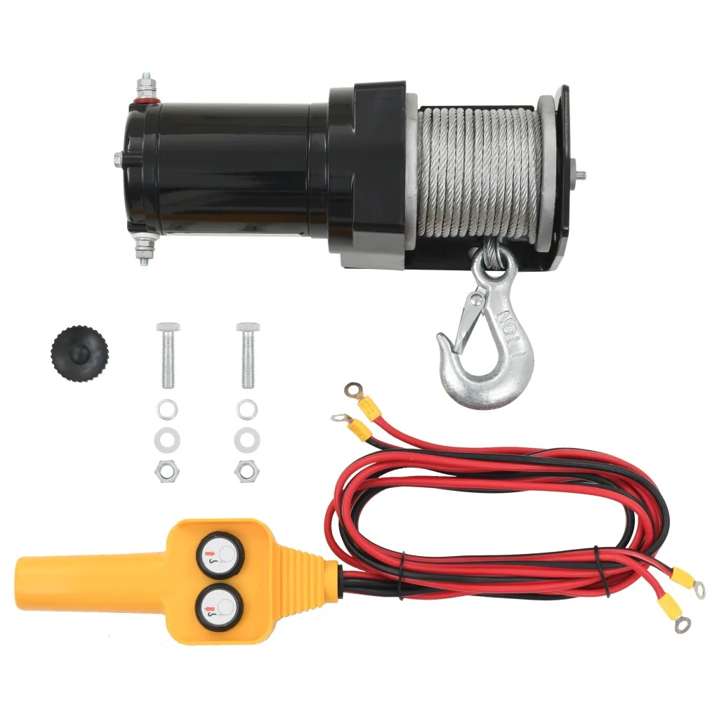 VidaXL 15 M 12 V Electric Winch 907 KG Wire Remote Control Winches Suitable For Intermittent Duty Application