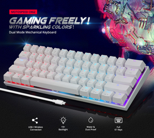 Image 2 - Motospeed CK62 Wired/Wireless Bluetooth Mechanical Keyboards 61 Keys RGB LED Backlit Gaming Keypad for Win iOS Android Laptop PC