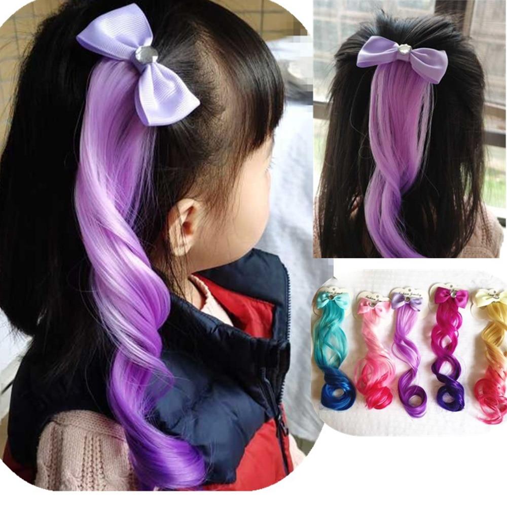 1PC Children Colorful Hair Accessories Bow Curls Hair Clips Girls Kids Performance Hairpins Headwear Hair Accessories