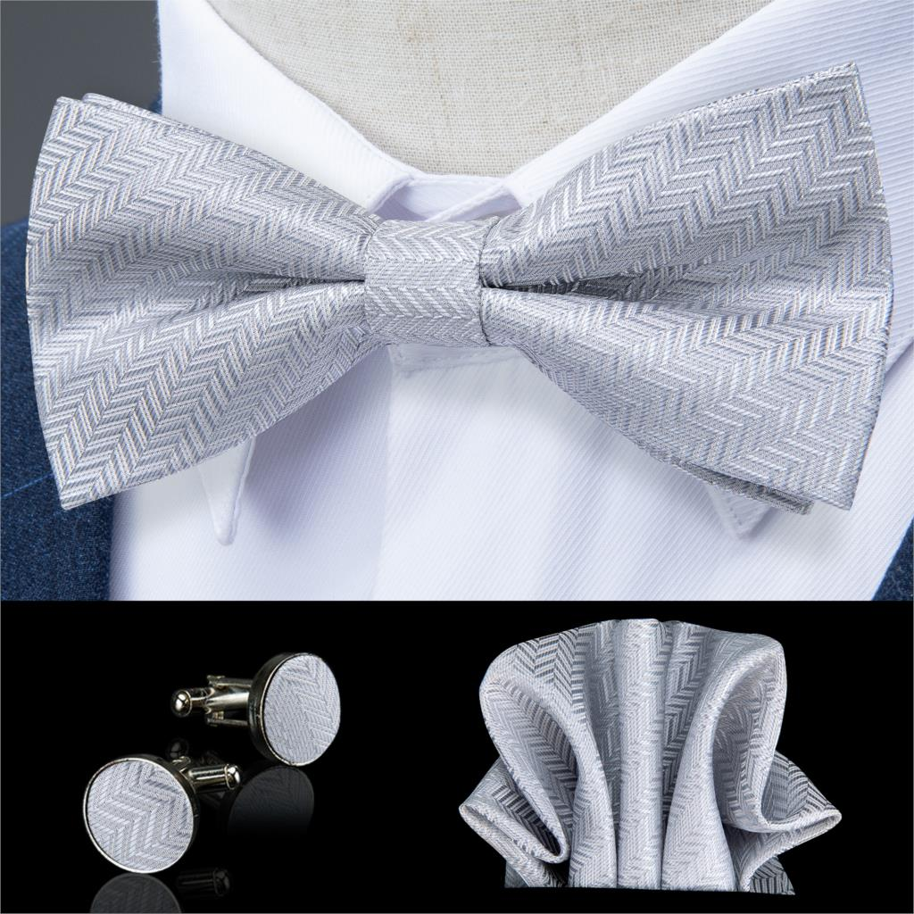Silver Solid Butterfly Silk Self Bowtie For Men Classic Wedding Bowtie Handkerchief Cufflink Set Neckwear Men Tie DiBanGu JM-124