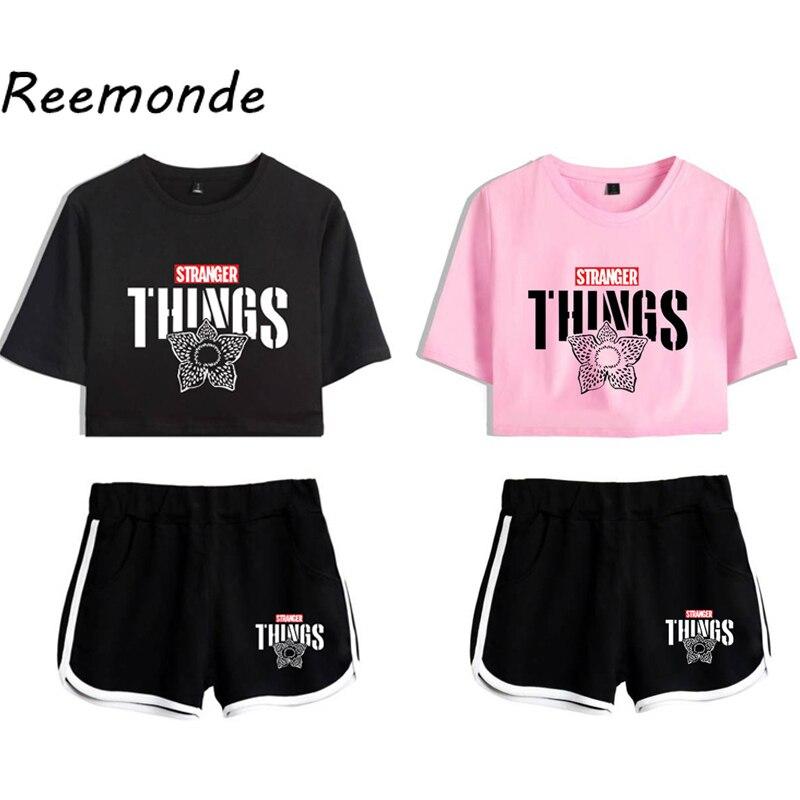 Stranger Things Costume T shirt Nancy Wheeler Running T-shirt Shorts Stranger Things Suit Clothes Women Girls Sport Shorts Sets