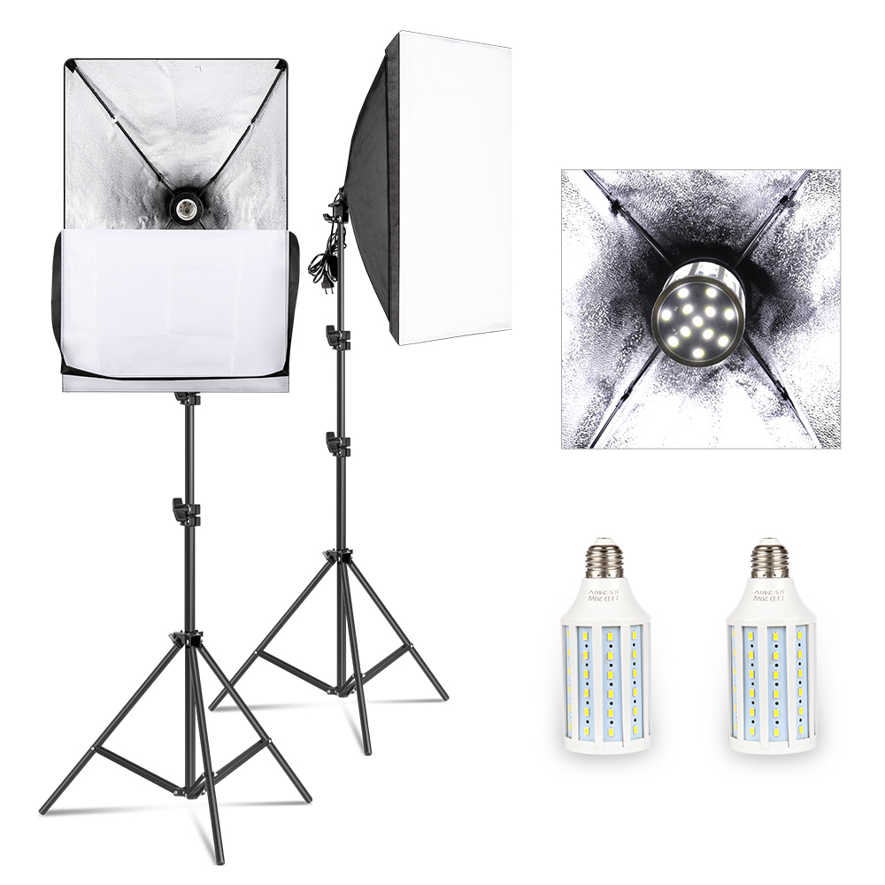 Softbox Lighting Kit Professional Studio Photography Continuous Equipment with 20W LED 5500K E27 Socket Light for Photography 1