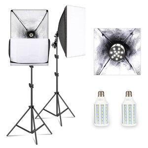 Image 1 - Softbox Kit di Illuminazione Studio Professionale Attrezzature Continua con 20W HA CONDOTTO 5500K E27 Presa di Luce per la Fotografia