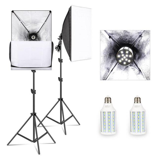 Softbox Kit di Illuminazione Studio Professionale Attrezzature Continua con 20W HA CONDOTTO 5500K E27 Presa di Luce per la Fotografia