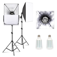 Softbox Lighting Kit Professional Studio Continuous Equipment with 20W LED 5500K E27 Socket Light for Photography