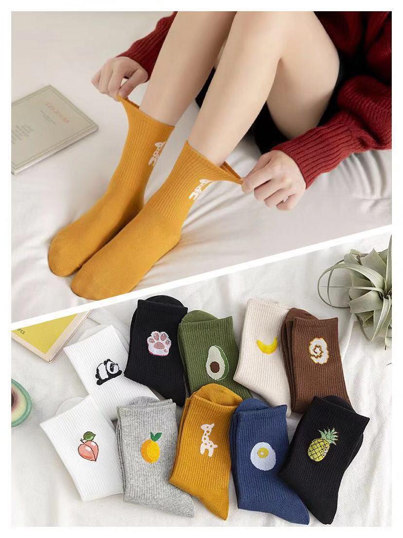 Women Socks Hot Fashion Middle Tube Socks Fruits Warmth Socks Cute Socks Long All Cotton