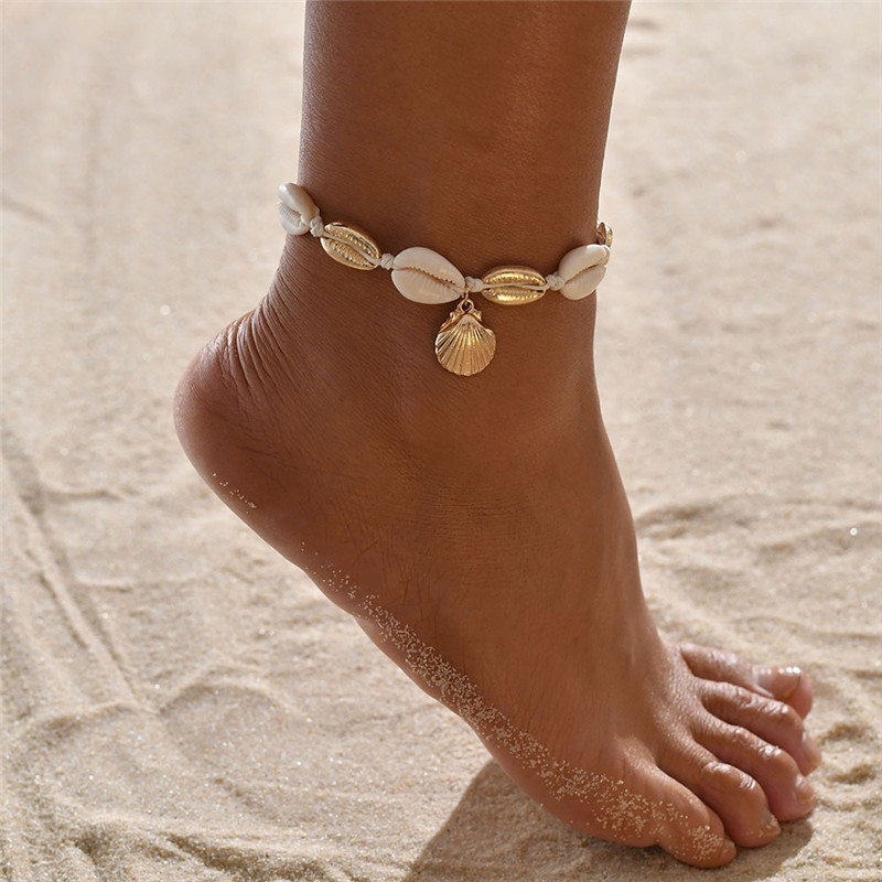 Modyle 2020 New Fashion Gold Color Shell Anklets for Women Conch Chain Anklet Beach Foot Bracelet Jewelry