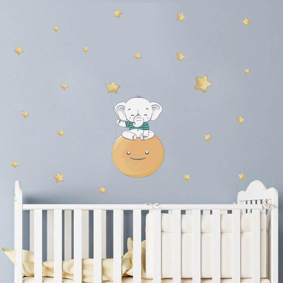 Adhesivos de pared con forma de elefante muy bonitos para dormitorio de bebé, decoración para habitación de niños, pegatinas de animales de dibujos animados, arte DIY, papel tapiz de vinilo nórdico para el hogar Papel pintado autoadhesivo impermeable de PVC de 5 M/10 M, luz de pared para baño de cocina, pegatinas para azulejos, pegatinas con patrón de mosaico, película decorativa