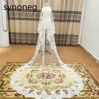 300CM Ivory Long Catherdal Wedding Veils One Layer Lace Edge White Bridal Veils Cheap Womens Wedding Accessories Free Shipping