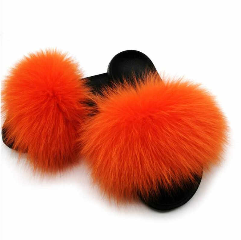 2019 Womens Summer Outdoor Slippers Real Fur Slippers Rainbow Colors Women Slippers Beach Fox Fur Slides,See as pic,7.5