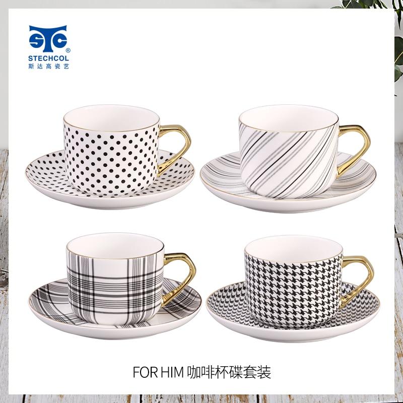 Coffee Set Bone China European Light Luxury Light Luxury and Simplicity Modern New Year Gift