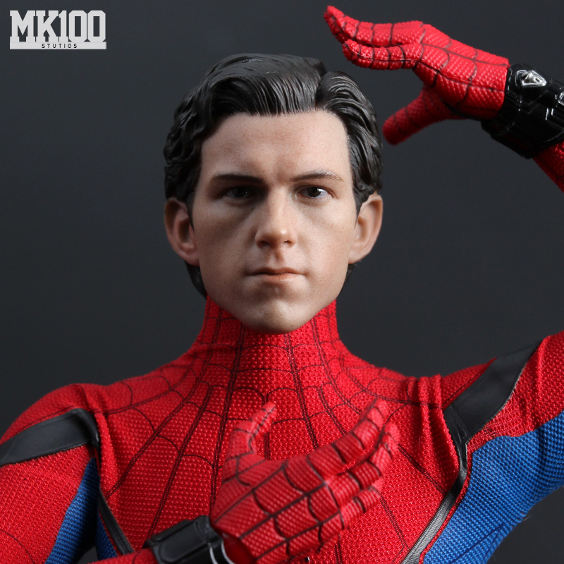 1/6 Scale Tom Holland Spiderman Male Head Sculpt Peter Parker Head Carving  Body For 12