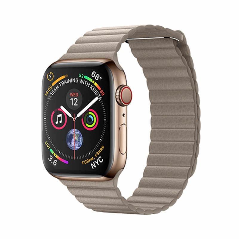 YuiYuKari pasek na pasek do apple watch 42mm 38mm iWatch 5 4 3 2 1 Mdnen zamknięcie pętli prawdziwej skóry Link bransoletka klamra magnetyczna