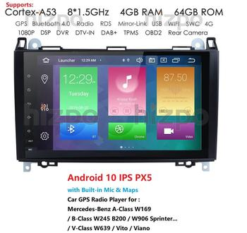 DSP HD Android 10 Car DVD Player 4GB RAM For Mercedes Benz A150 A160 A170 A180 A200 B160 B170 B180 B200 GPS Bluetooth Radio image