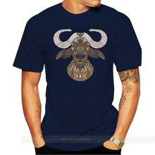African Buffalo Tops Classic T-Shirt For Men Chic Tattoo Art Tshirt Summer/Autumn O Neck 100% Cotton T Shirts Europe Streetwear(China)