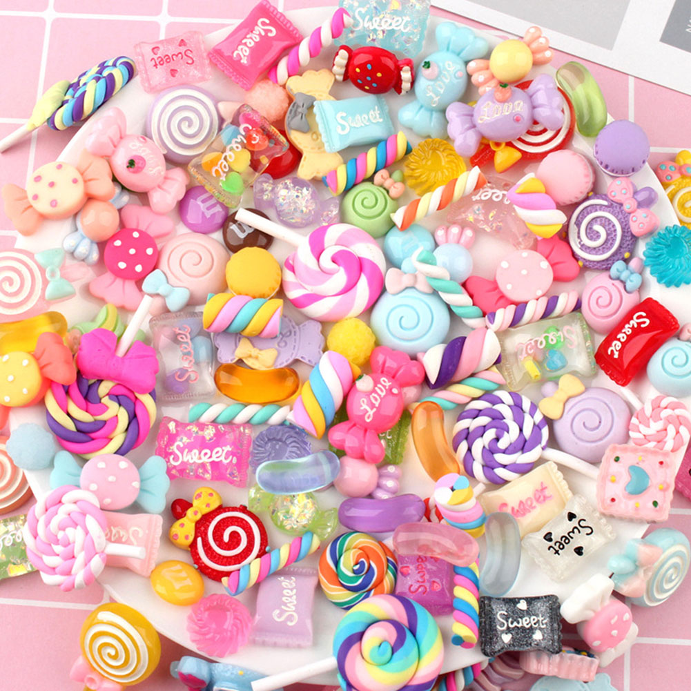 30pcs Making Supplies Charms Resin Filler Slime Beads Crafts Colorful Candy Flatbacks Accessories DIY Scrapbooking Cute Ornament
