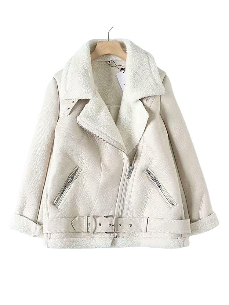 Female Coat Belt Lamb Women's Jacket Fur Beige Long-Sleeved Wool Warm Chic Thickened