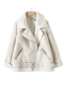 Female Coat Belt Pu-Tops Locomotive Women's Jacket Lamb Wool Beige Long-Sleeved Loose
