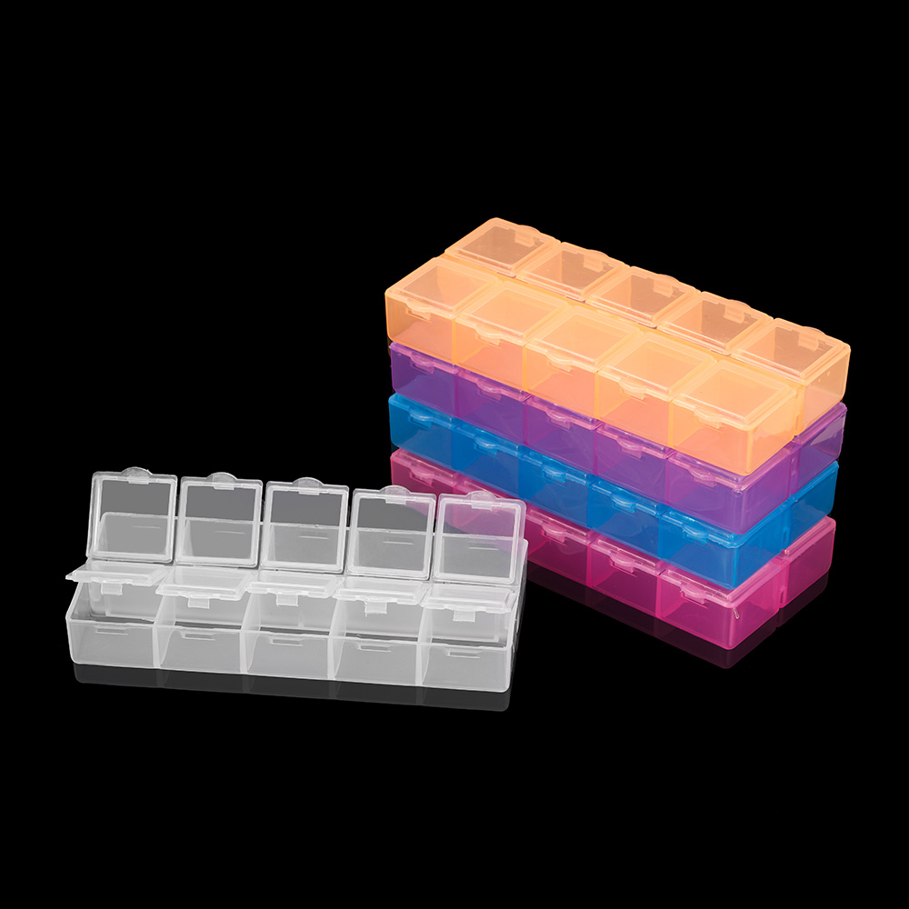 6 Color Plastic Double Row Jewelry Accessories Storage Box Case Holder Craft Organizer Beads Jewelry Display Organizer Container