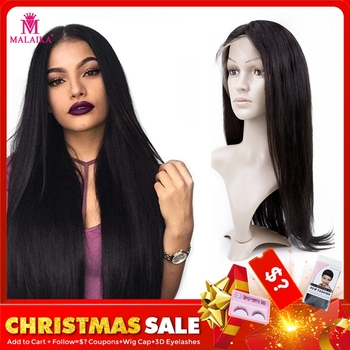 MALAIKA Straight Lace Front Wig Pre Plucked With Baby Hair 130% Lace Front Brazilian Christmas Human Hair Wigs For Black Women