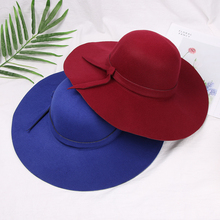 Fashion Wool Fedora Hat Flat Top Hat For Women's Felt Bowknot Wide Brim