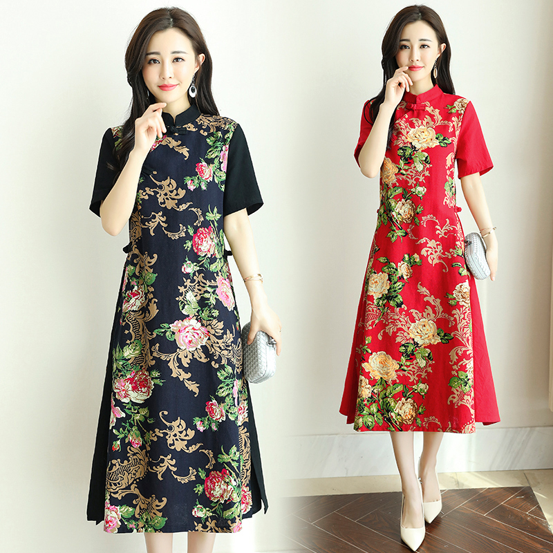 2020 Chinese Dress Qipao Folk Styly Women Improved Cheongsam Oriental Flower Printing Dresses Evening Party Gown Chinese Dress