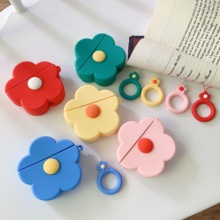 Cute Cartoon Silicone Flower Cases For AirPods Cover Airpods Wireless Bluetooth charging box Earphone Case with hook