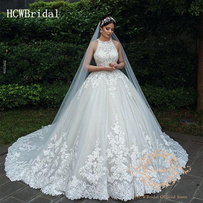 Dubai Arabic Wedding Dresses 2019 High Quality Lace Long Train Cut Out Back Princess Wedding Gowns Customize Robe De Mariee