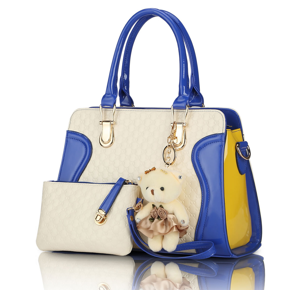New Elegant Ladies Shoulder Bag Contrast Color Stitching PU Leather Bear Pendant Handbag Sleek Minimalist Handbags Mother Bag in Top Handle Bags from Luggage Bags