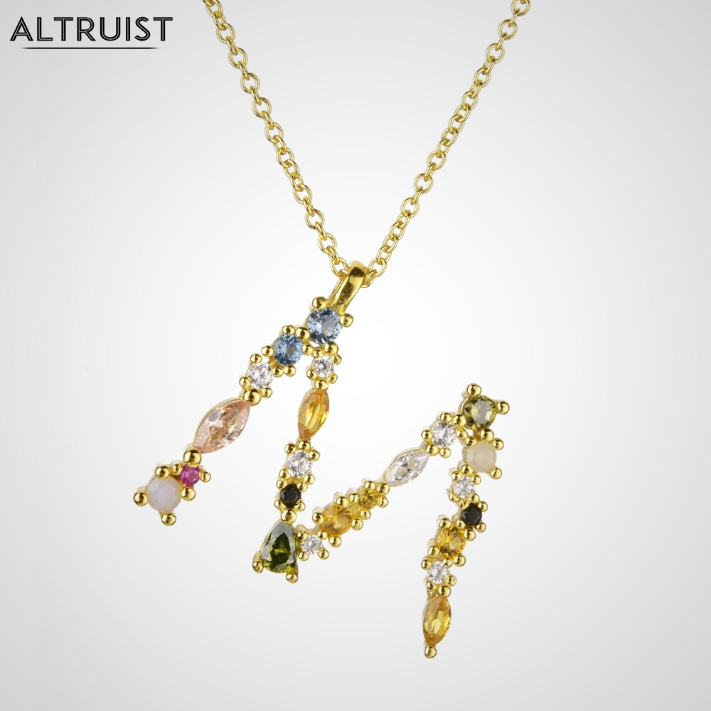 Altruist 925 Sterling Silver Gold Leter M Pendant Initial F Alphabet Necklace Opals Fashion 2019 Women Accessories Jewelry