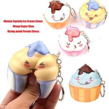 Squishied Ice Cream Cone Slow Rising Ani-Stress Toy Pendant Keychain Bag Decor Comfortable touch realistic look and super kawaii(China)