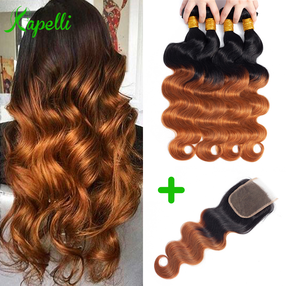 Ombre Body Wave Bundles With Closure Indian Human Hair Weave Blond Bundles With Closure Non-Remy 1b/30 Bundles With Lace Closure