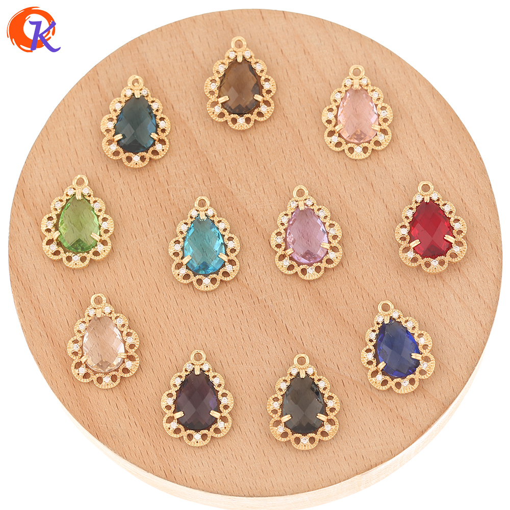 Cordial Design 50Pcs 14*19MM Jewelry Accessories/Crystal Pendant/Hand Made/Drop Shape/DIY Making/Earring Findings/CZ Charms