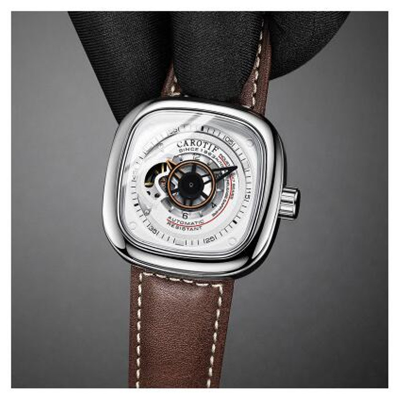Watches Top Brand Automatic Mechanical Watch Brown Genuine Leather Strap Classic Style Fsshion Brand