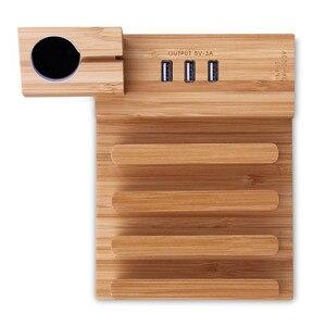 Image 3 - Зарядка через USB станция Bamboo Деревянный держатель планшета Зарядное устройство мульти док станция для Магнит подставка для часов 3 Порты 5V/3A для телефона