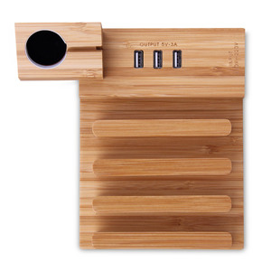 Image 3 - USB Charging Station Bamboo Wood Tablet Charger Multi   Dock Magnet Watch  Stand 3  Ports 5V/3A for Phone