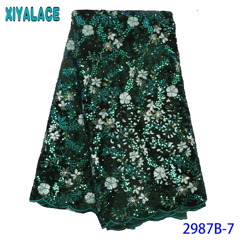 New Green Velvet Fabric Lace 2019 High Quality Sequin Lace Fabric French Fabrics Laces for Wedding Dress KS2987B