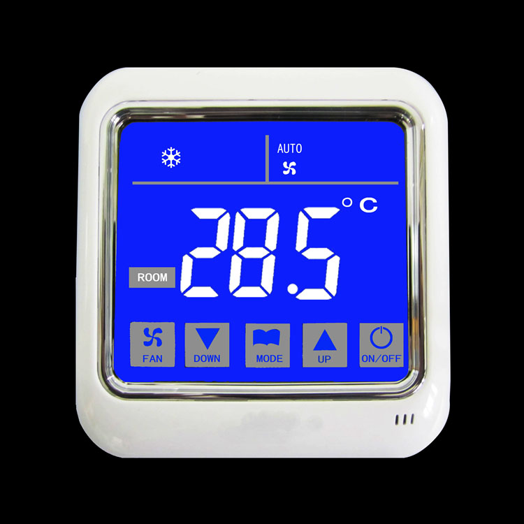 Blue Backlight White Character LCD Display Temperature Contronller 220 V 2-pipe Thermostat For Fan Coil Control 2-3 Line Valves