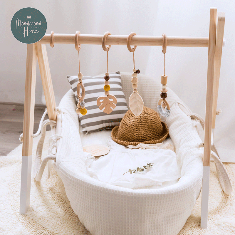 Nordic Style Baby Gym Play Wooden Baby Toys Nursery Sensory BPA Free Organic Material Wooden Frame Infant Room Toys Baby Rattles