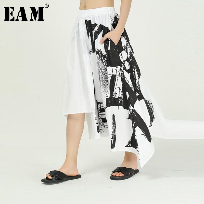 [EAM] High Elastic Waist Pattern Printed Asymmetrical Temperament Half-body Skirt Women Fashion Tide Spring Autumn 2020 1T145