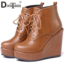 DORATASIA New Fashion INS Hot Wedges Boots Ladies High Heels Platform Shoes Woman Party Ol Autumn Winter Ankle Boots Women 32-43 цена и фото